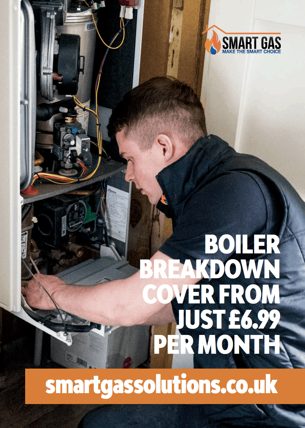 Heating engineer carrying out boiler installation